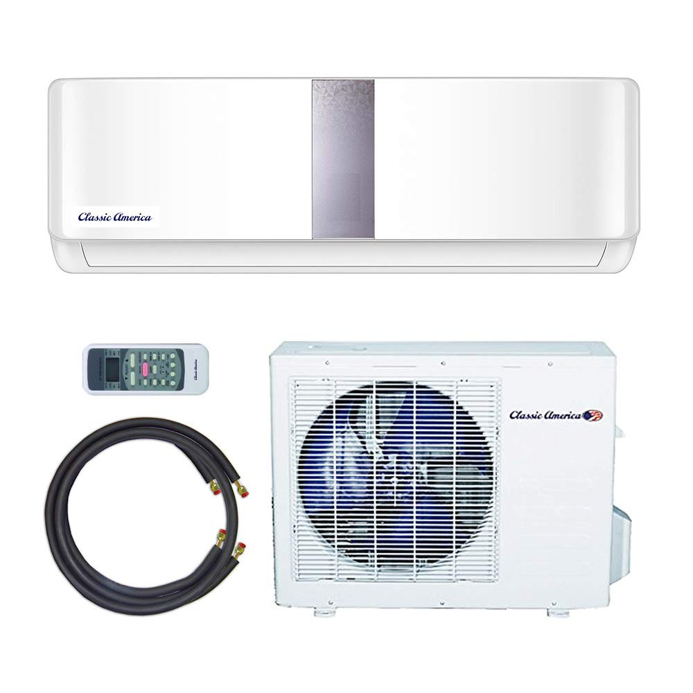 Classic America Ductless Wall Mount Mini Split Inverter Ymgi Wiring Diagram Air Conditioner With Heat Pump 9000 Btu 1 Ton 22 Seer 110 120 Vac Full Set Home
