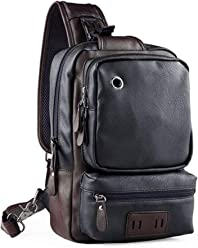 Men Sling Backpack, OURBAG Vintage PU Leather CrossBody Chest Sling Bag Casual Hiking Daypacks with USB Charge Black
