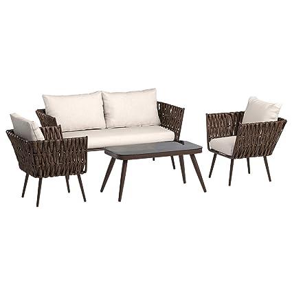 Sensational Amazonbasics 4 Piece Pe Rattan Wicker Outdoor Furniture Patio Set Home Interior And Landscaping Ologienasavecom