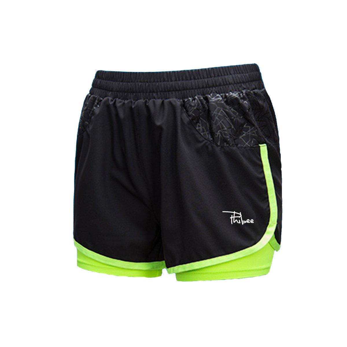 PHIBEE Men's 2-in-1 Running Shorts Elasticity Lightweight Sweatpants