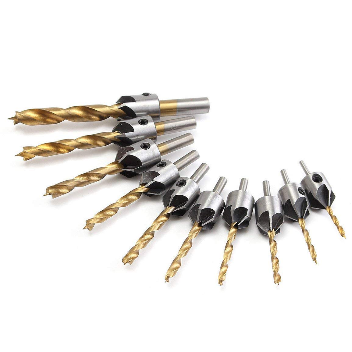 Color:Gold /& Silver Wrench 3mm-10mm Durable Use HSS 5 Flute Countersink Wood Drill Bit+Quick Change Hex Shank Screw Countersink Drill Size:5mm
