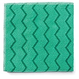 Rubbermaid Commercial Reusable Cleaning Cloths, Microfiber, 16 x 16, Green - Includes 12 per case.