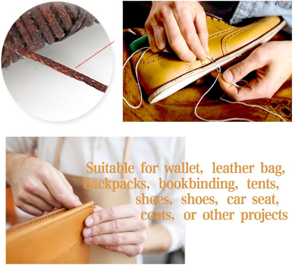 Straps Fabric DIY Stitching Hole Punch BUTUZE,4mm Silent Leather Hand Pliers with Leather Needle,Wooden Needle Case,Waxed Thread for Belts Saddles Shoes Rhombus 4 Teeth, 2 Teeth and 1 Teeth