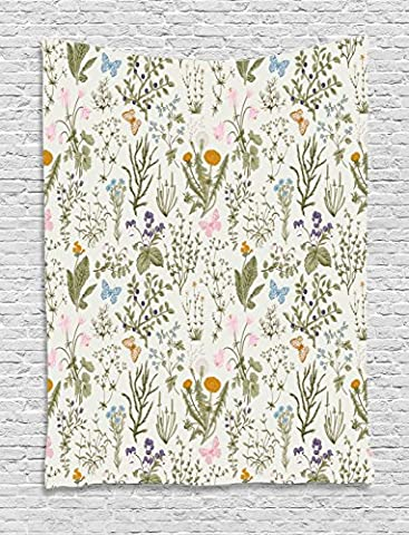 Floral Tapestry by Ambesonne, Vintage Garden Plants with Herbs Flowers Botanical Classic Design, Wall Hanging for Bedroom Living Room Dorm, 40 W x 60 L Inches, Beige Reseda Green Pink - Floral Tapestry
