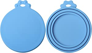 ISKM Pet Food Can Cover 2 Pack Universal Silicone Cat Dog Food Can Lids 1 Fit 3 Standard Size BPA Free FDA Food Grade & Dishwasher-Safe Blue