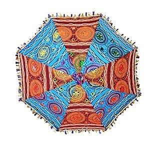 Indian Cotton Embroidered Sun Protection Umbrella Decor Vintage Parasol