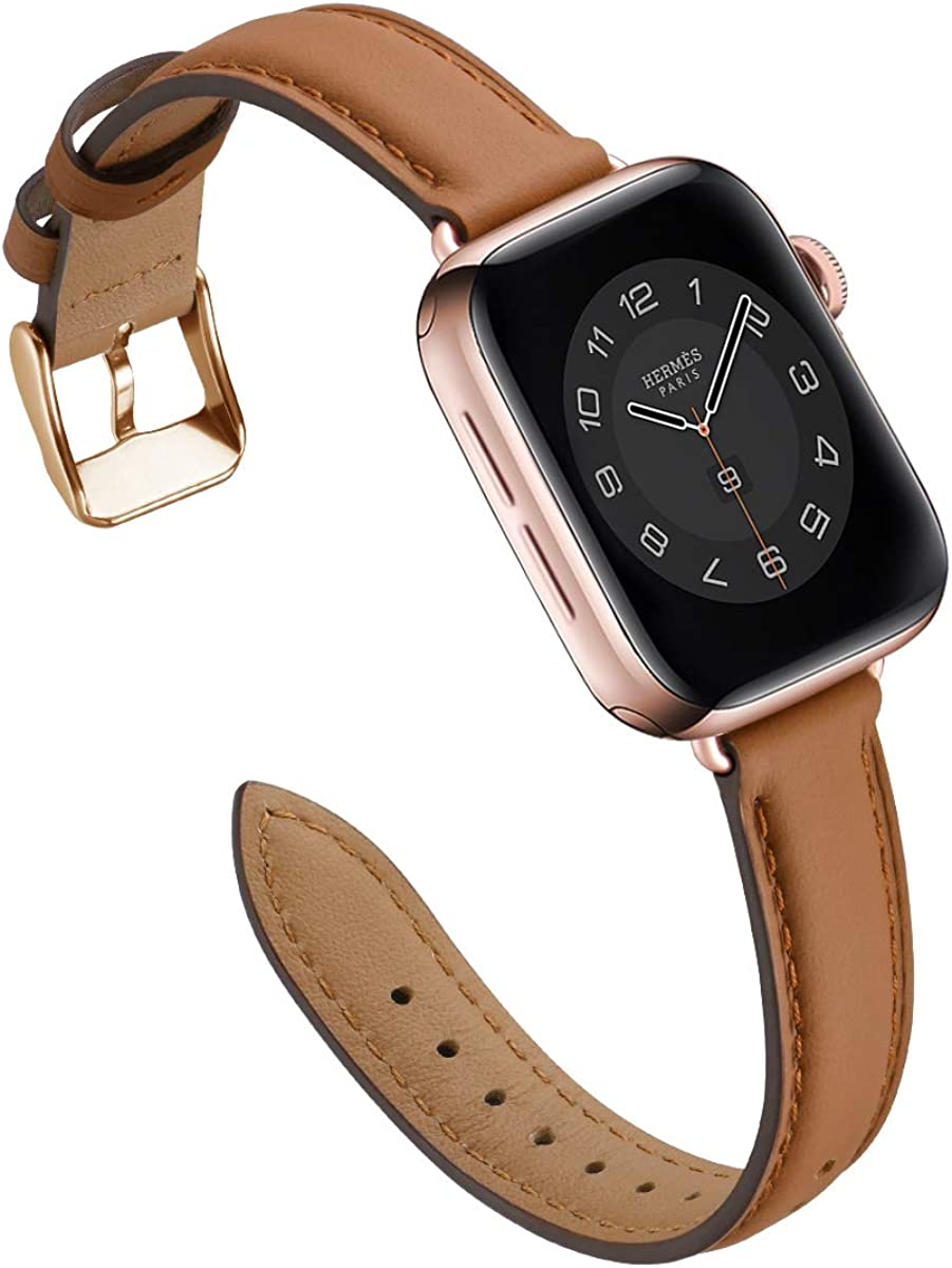 M MARGMATIVO Compatible with Apple Watch Band 40mm 44mm 38mm 42mm, Soft Leather Wristbands Replacement Strap for iWatch Series SE 6 5 4 3 2 1 for Women Men Sport