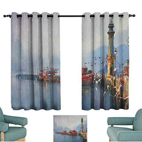 Amazon.com: Sanring Country,Living Room Curtains View of a ...
