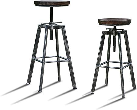 Lot de 4 Tabourets de Bar Réglable YAKO 2 Design Luxe Vintage Industriel