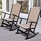Luxury Solid Wood Folding Porch Rocking Chairs, Set of Two, Features Solid Wood Frame, Folds Easily to Be Put Away, Durable Woven Fabric Cover for Back and Seat, Espresso + Expert Guide