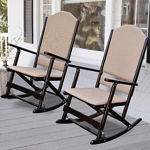Luxury Solid Wood Folding Porch Rocking Chairs, Set of Two, Features Solid Wood Frame, Folds Easily to Be Put Away, Durable Woven Fabric Cover for Back and Seat, Espresso + Expert Guide by eCom Rocket