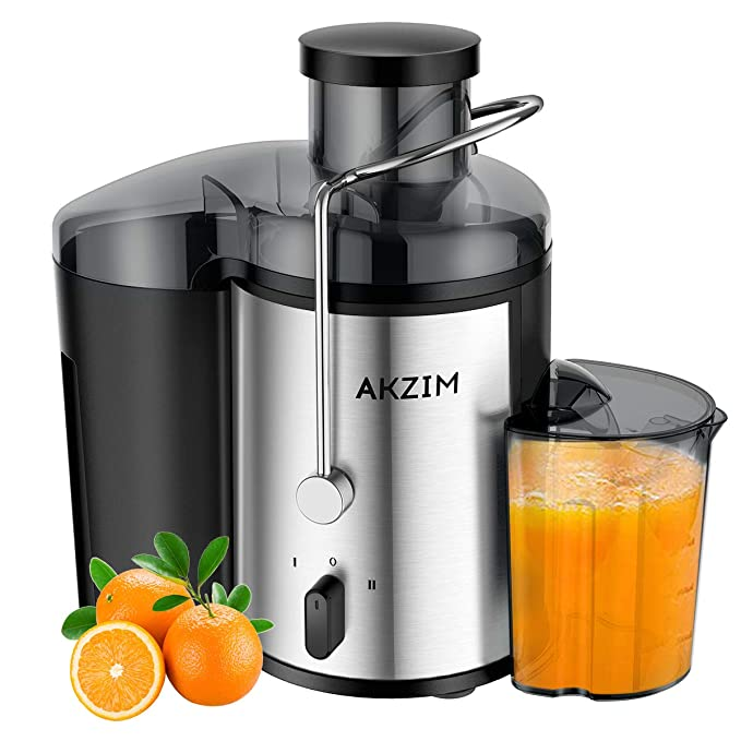 Juicer Machine AKZIM Juice Extractor with Non-Slip Feet,Dual Speed Centrifugal Juicer Machine for Vegetable and Fruits,Anti-Drip,BPA-Free