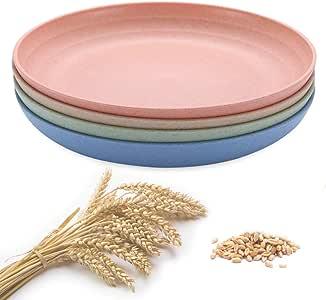 Amazon.com: Unbreakable Wheat Straw Plates Cooyeah