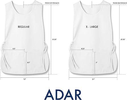 Adar delantal Laboral Unisex Con Bolsillos Para Trabajos de Belleza y M/édicos 3 Pack
