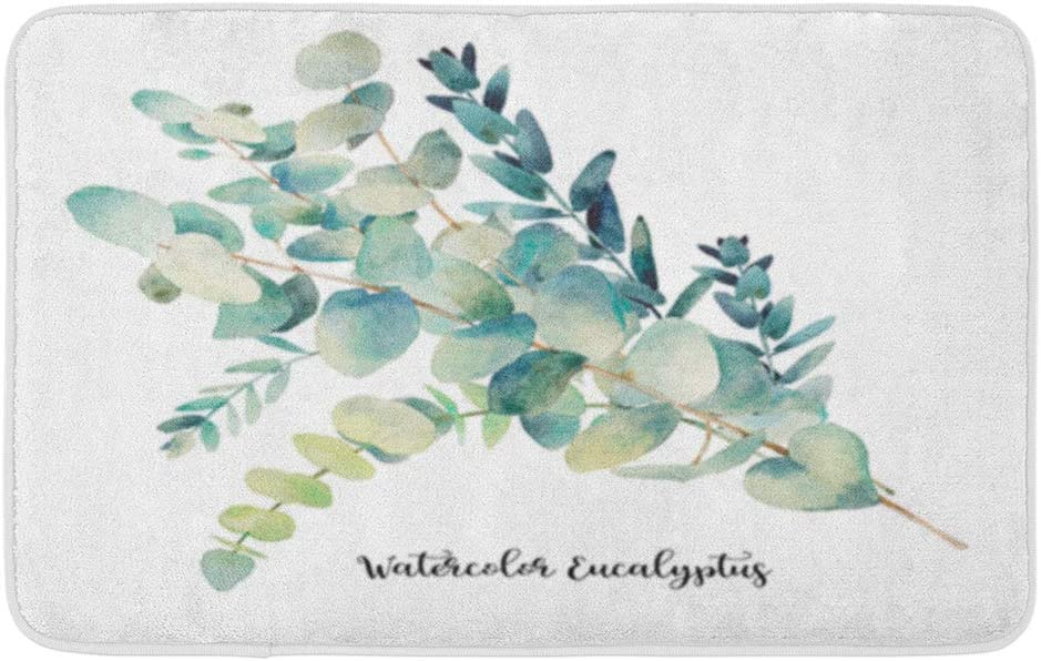 "Adowyee 20""x30"" Bath Mat Green Leaf Watercolor Eucalyptus Bouquet Floral Object Greenery Sketch Cozy Bathroom Decor Bath Rug with Non Slip Backing"