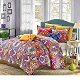 8 Piece Pink Multi Damask Floral Pattern Comforter Queen Set, Luxurious Large Scale Rich Bohemian Motif Design, Boho Chic Indian Style Bedding, Vibrant Colors, Cotton, Microfiber