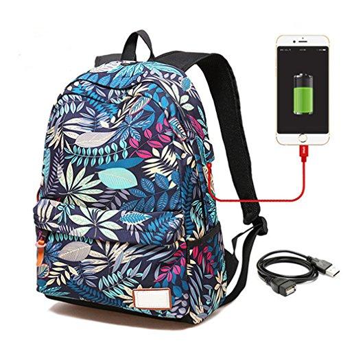 à dos sacs femelles Haoling le à de le d'adolescent sac sac Small des pour dos dos Blue imprimant filles femmes d'université à USB d'ordinateur étudiants d'école chargeant des pour portable RwRXYg