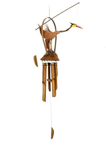 100cm Großes Holz Vogel Windspiel Feng Shui Handarbeit Bambus Klangspiel Garten  Deko