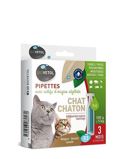 Biovetol pipeta antipulgas para gato y gato (250g a 5 kg) – 3 x