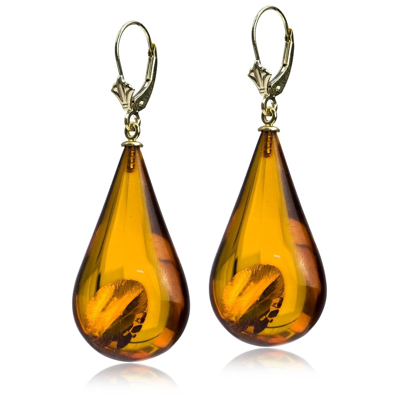 14k Gold Amber Drop Large Leverback Earrings