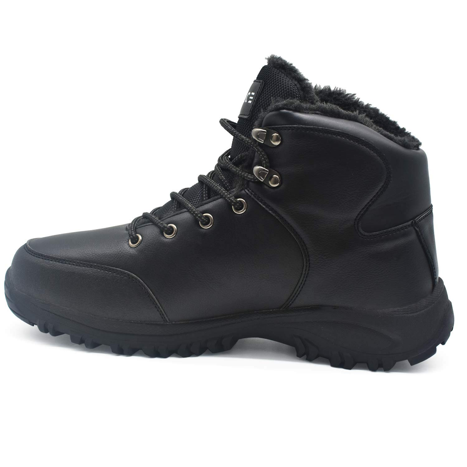 COFACE Mens Winter Snow Hiking Boots Leather Warm Faux Fur Lined Outdoor Walking Shoes