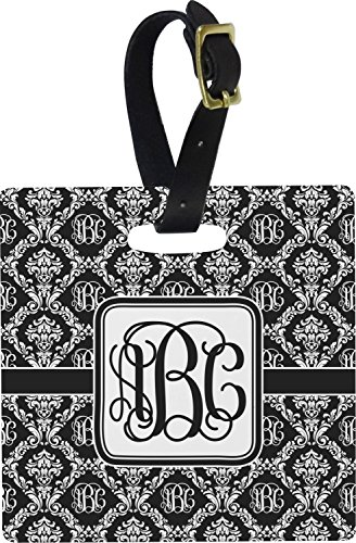 Monogrammed Damask Square Luggage Tag (Personalized) (Square Luggage Tag)