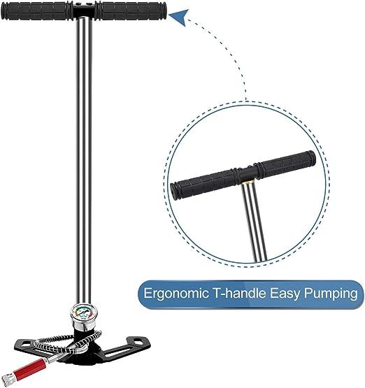 Cocoarm Support de Pompe /à air Manuel en 3 /étapes Chargeur de Pompe /à Main Pistolet /à air Jauge de Filtre /à gaz davion Gonfleur Pompe /à air Manuelle Pompe /à Haute Pression Pompe PCP Haute Pression