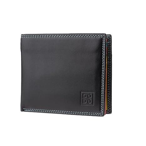 e7fa59b428 DUDU Portafoglio Piccolo Colorato da uomo in Pelle Nappa con Portamonete  Porta carte e Banconote Nero