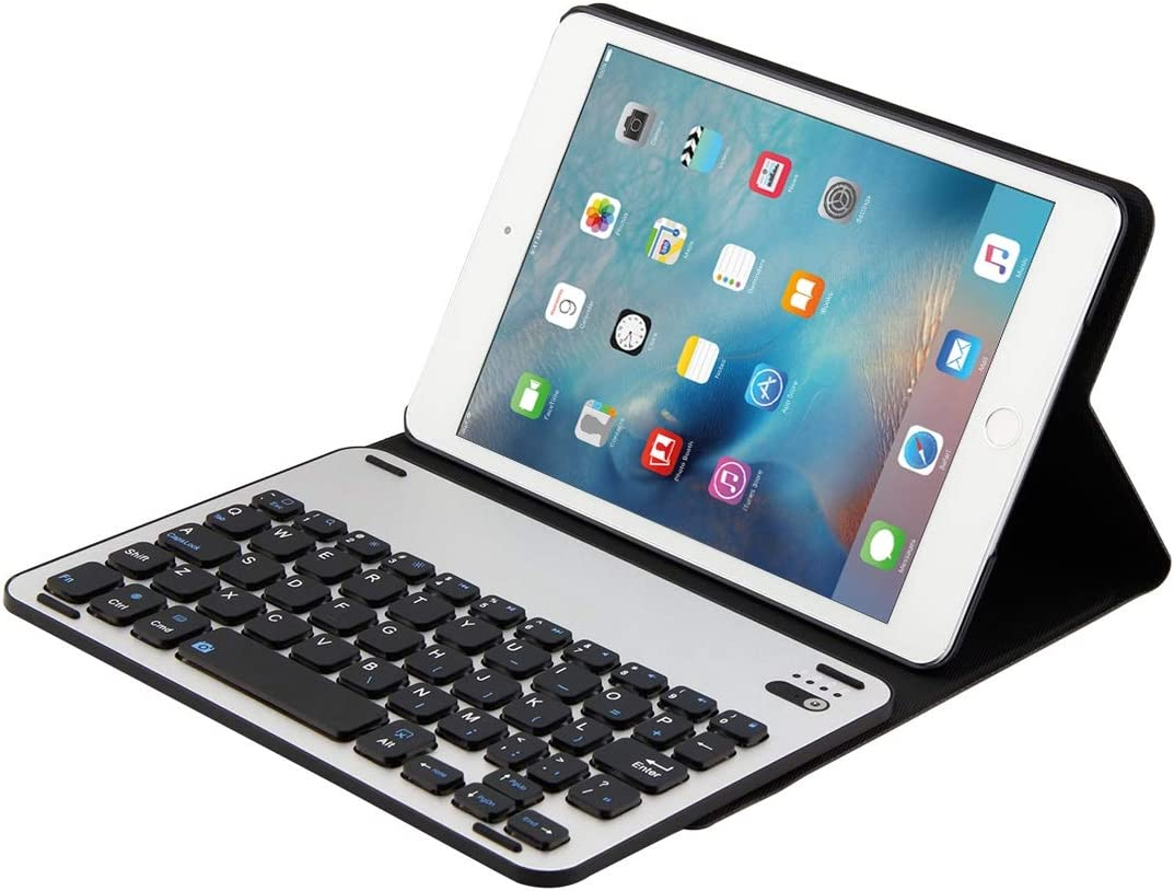 Black Color : Black CellphoneMall Keyboard for iPad Mini 4 Detachable Aluminum Alloy Bluetooth Keyboard Lambskin Texture Leather Case with Holder