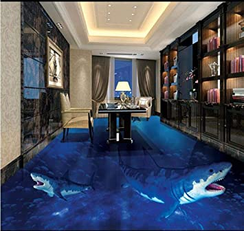 Self Adhesive Wallpaper Roll Size Pvc Floor Wallpaper Interior Shark Fish Vinyl Flooring Fireproof Waterproof Living Room 3d Wallpaper Amazon Co Uk Diy Tools