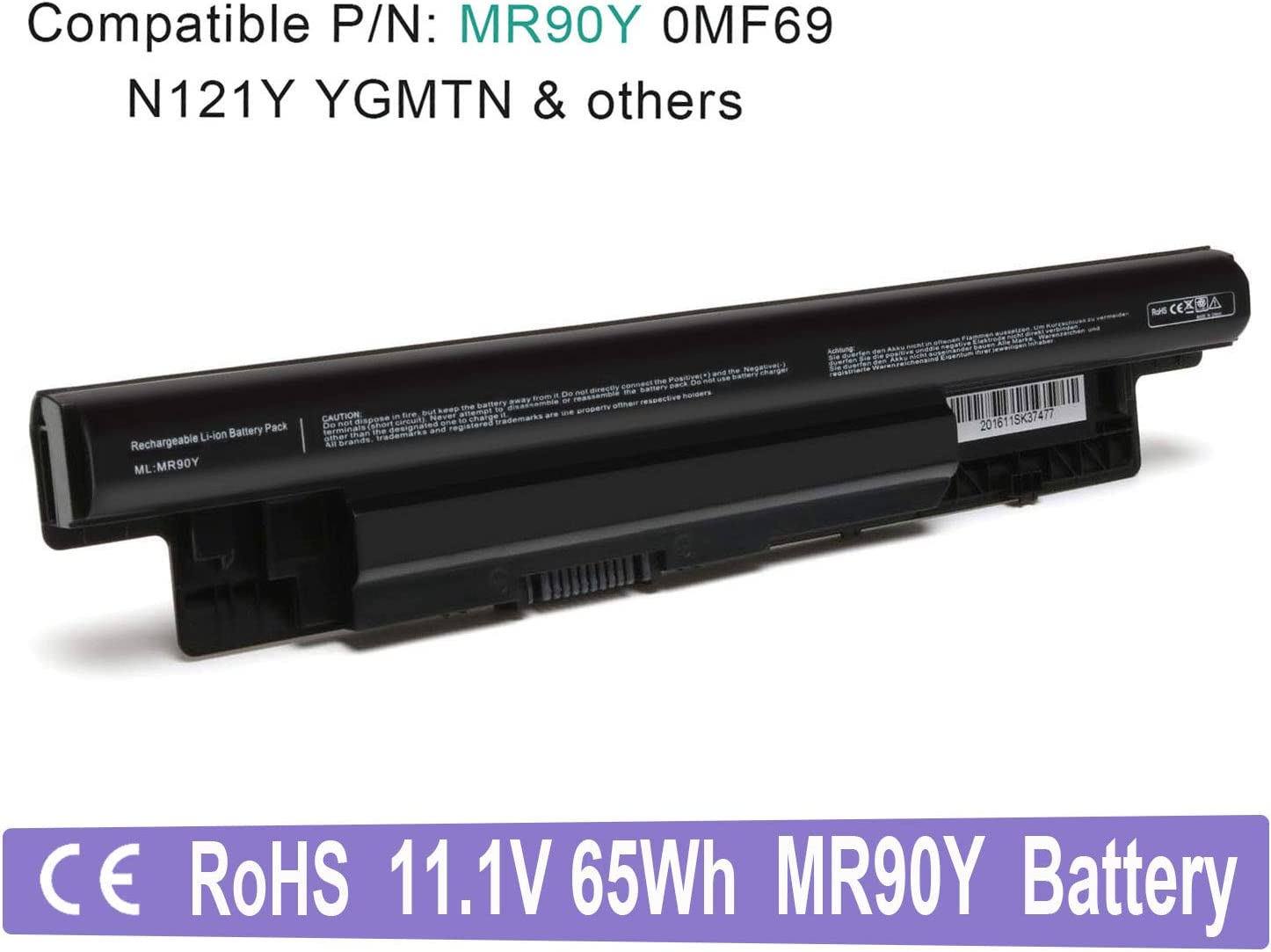 VUOHOEG 11.1V 65WH MR90Y New Laptop Battery Replacement for Dell Inspiron 14 3421, 14R 5421, 14R 5437,15 3521,15R 5521, 15R 5537, 17 3721, 17 3737, 17R 5721, 17R 5737; fit Dell Latitude 3440 3540