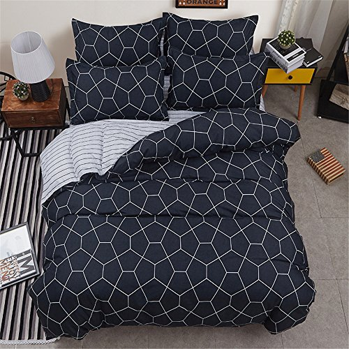 4 Pieces Dark Grey Microfiber Duvet Cover Set Minimalist Geometric Abstract Print (1 Duvet Cover +1 Flat Sheet +2 Pillowcases)Queen Size with Zipper Closure,Ultra Soft Lightweight and - Tree Christmas Minimalist
