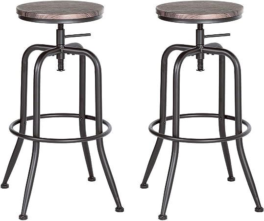 Aingoo Sgabello da Bar Vintage Set di 2 Sedie Regolabili in Cucina con Struttura in Metallo 77-79 cm Sedia da Bar Industriale Marrone Scuro