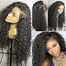 Deep Wet Beyonce Wave Full Lace Human Hair Wigs Deep Curly Wave Brazilian Virgin Hair Lace Front Wigs shipping by DHL 150density (8 inch,1B)