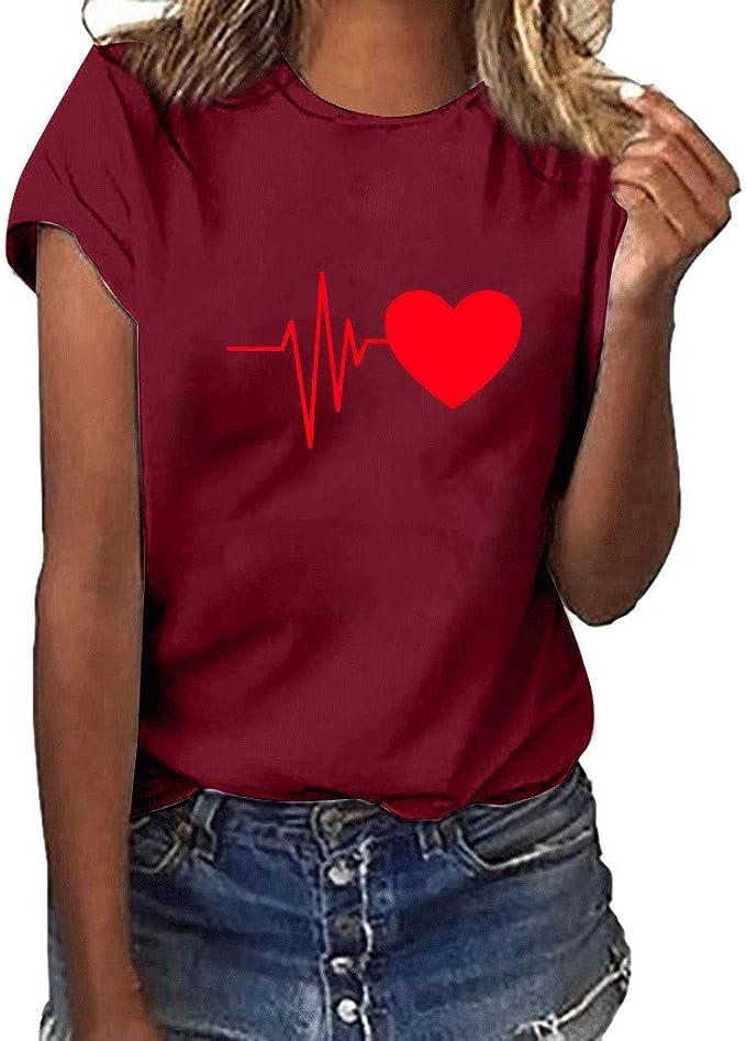 Darringls Camisetas para Mujer, Camiseta de Mujer Manga Corta Corazón Impresión Blusa Camisa Cuello Redondo Basica Camiseta Suelto Verano Tops Casual Fiesta T-Shirt Impresión de Electrocardiograma: Amazon.es: Ropa y accesorios