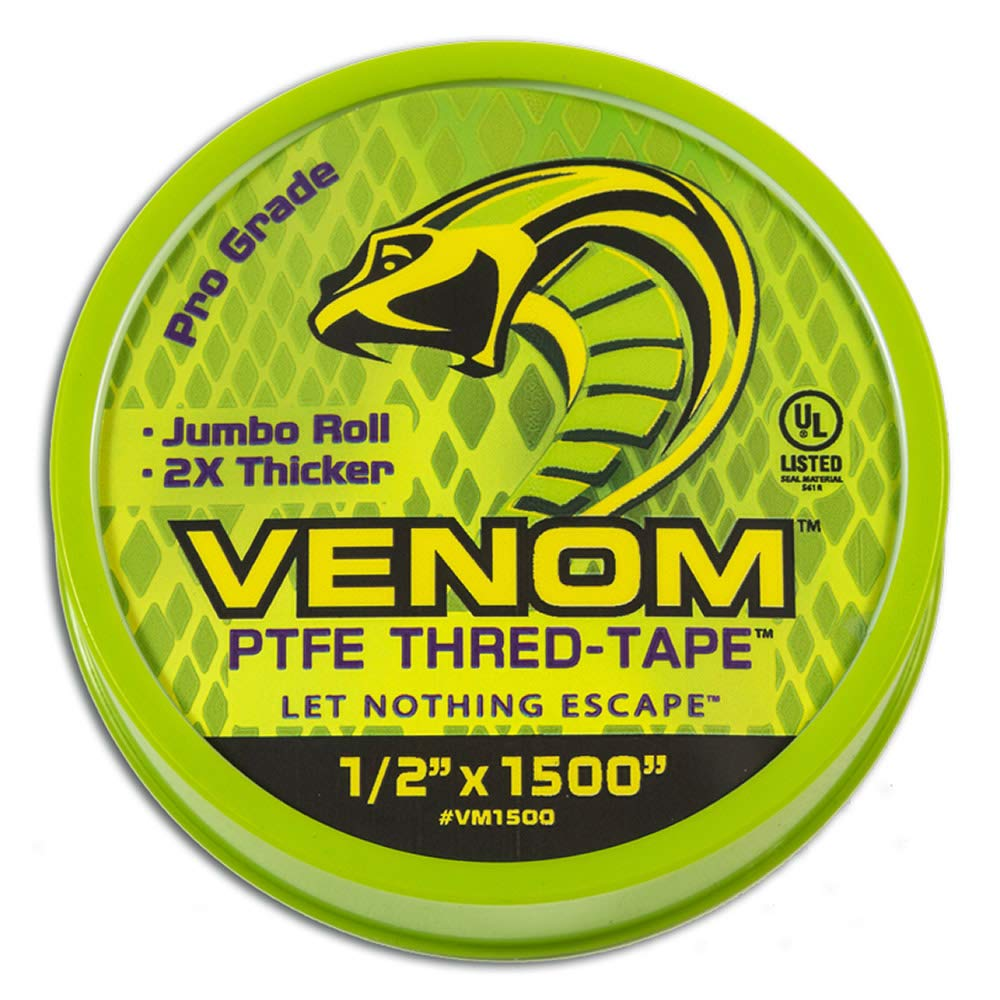 Venom Pro-Grade PTFE Thread Tape - for Use on Threaded Joints of of Piping Materials, Jumbo Roll 1/2