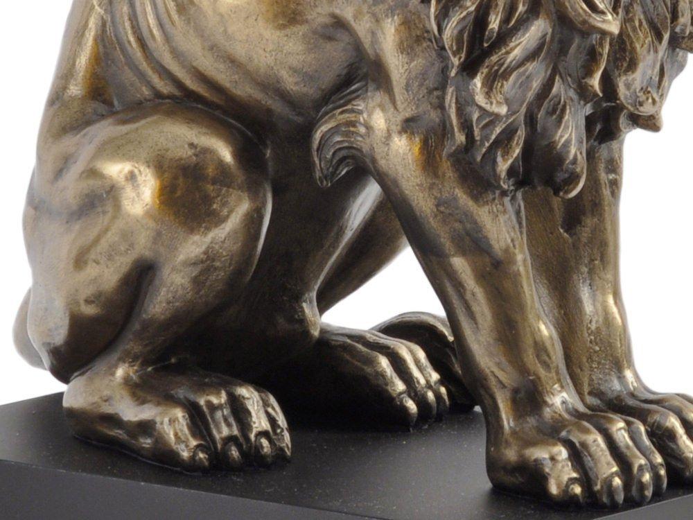 Artisanti HERRSCHAFTLICHER sitzend L/öwe Skulptur in Bronze-Finish