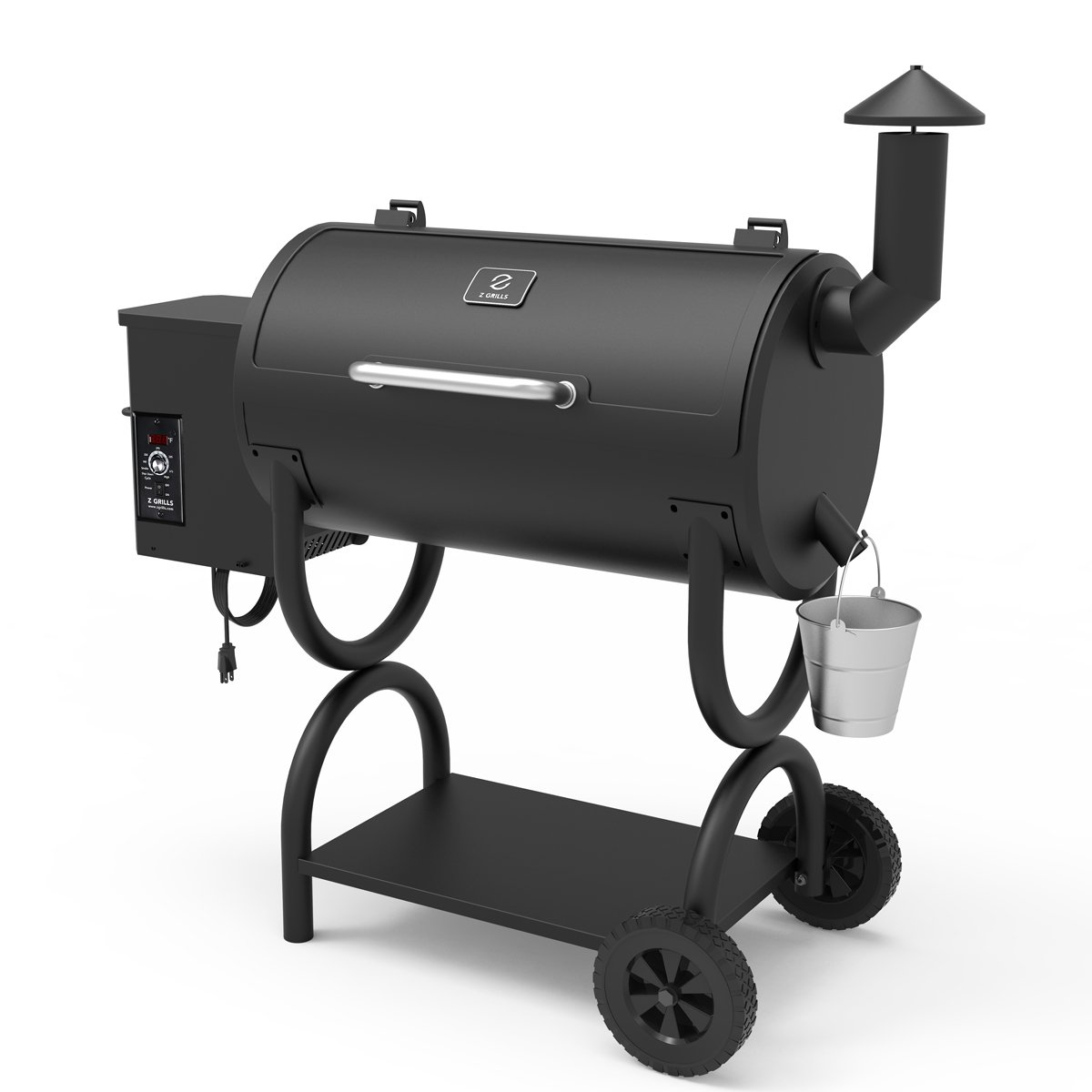 Z GRILLS Wood Pellet Grill 7-in-1 BBQ Smoker for Outdoor Cooking 550SQIN Barbecue Area 10LB Hopper (ZPG-550B)