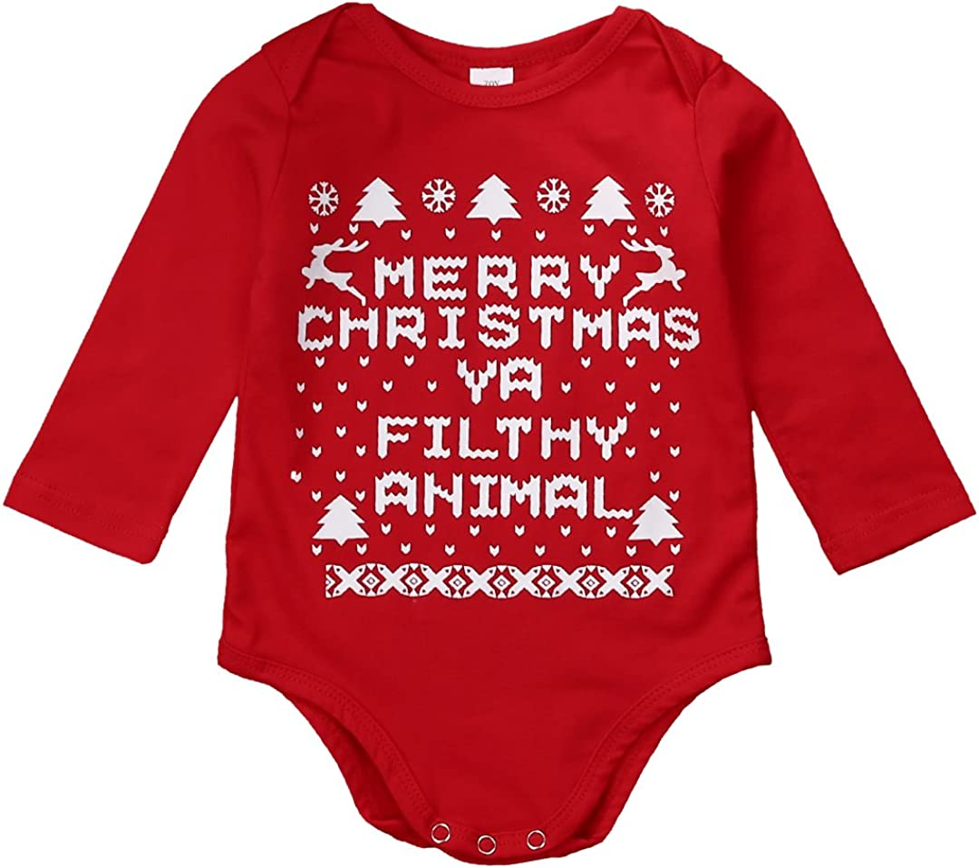 OikMombiu Newborn Baby Boys Girls Christmas Outfit Santa Claus Romper Long Sleeve Bodysuit Jumpsuit Playsuit Hat Elf Costume