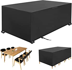 MOJAY Outdoor Patio Furniture Covers,Water&Windproof Table Chair Set Covers,Outdoor Furniture Cover with Airvents & Drawstring (Black,66.9X37X27.5 inch)