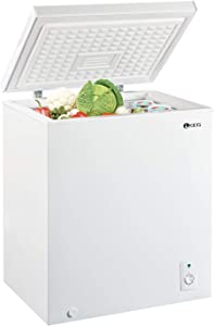 KEG Top Chest Freezer 5.0 Cubic Feet with Adjustable Thermostat and Removable Storage Basket, Freezing Machine for Home and Kitchen, White
