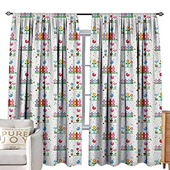 Image of Home and Kitchen Waterproof Window Curtain Floral,Bedding Plants Garden Fences Cottage Yard Flowers in Pots Childish Beetles Pattern, Multicolor W104 x L84 Assorted Sizes & Colors