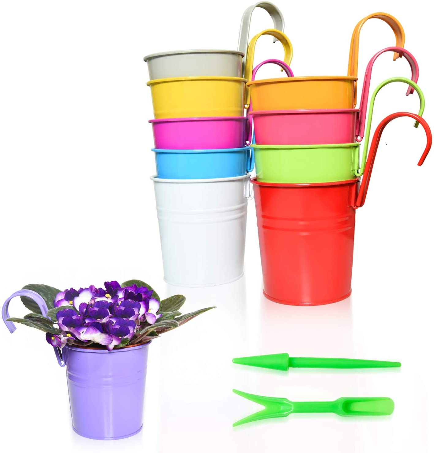Vumdua Hanging Flower Pots, 10 PCS Metal Planters Bucket Cup for Deck Railing Fence Balcony Garden Patio Home - Plant Holder with Detachable Hook, Drainage Hole, Silicone Plug, Gardening Tools