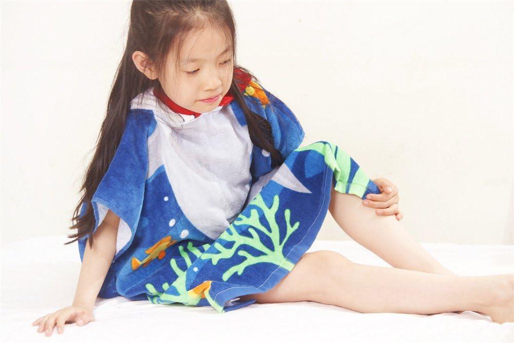 HOMAGIC2WE Children Hooded Towel Cotton Beach Towels Poncho Swim Bath Robe Shark