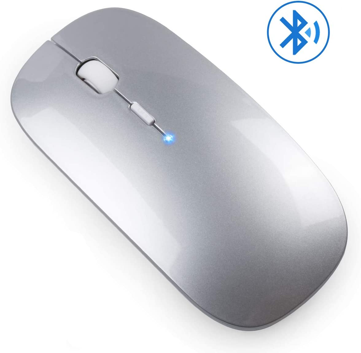 Jaybest Ratón Bluetooth, Ratón Bluetooth sin Receptor 3.0 Mini Ratón para Juegos para Computadora Portátil, PC, Computadora Portátil, Computadora con Sistema Operativo Windows/Android(Plata)