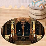 VROSELV Custom carpetGothic House Decor Dark Mystic Ancient Hall with Pillars and Christian Cross Dome Shrine Church Bedroom Living Room Dorm Decor Red Brown Black Round 72 inches