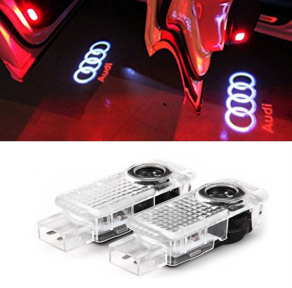 AMINEY 2 Pcs Door Light Car Vehicle Ghost LED Courtesy Welcome Logo Light Lamp Shadow Projector For AUDI, Easy Installation …