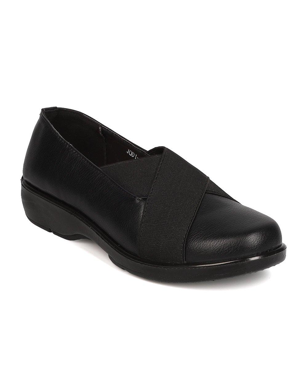 Refresh Women Leatherette Elastic Round Toe Walking Loafer FG28 - Black (Size: 10)