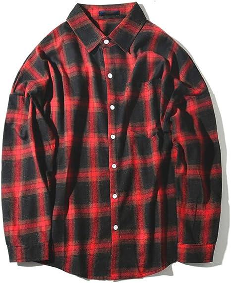 WFL Camisa a Cuadros Camisa de Joker de Manga Larga con Solapa de otoño para Hombre,Rojo,L: Amazon.es: Deportes y aire libre