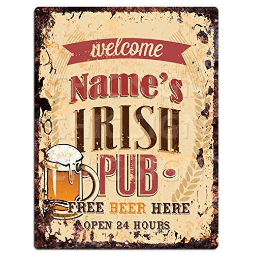 (Any Name's Irish Pub Custom Personalized Tin Chic Sign Rustic Vintage Style Retro Kitchen Bar Pub Coffee Shop Decor 9